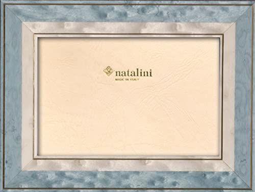 Natalini Marquetry ramka na zdjęcia wyprodukowana we Włoszech, tulipan, jasnoniebieska, 12 cm x 18 cm
