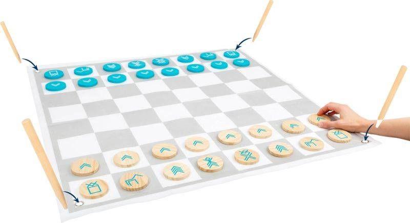 Drewniane szachy i warcaby 2w1 Activ 12026-Small Foot, gry na zewnątrz