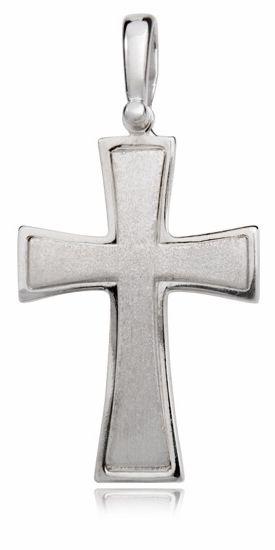 Srebrny rodowany krzyżyk krzyż piaskowany srebro 925 KKS0005