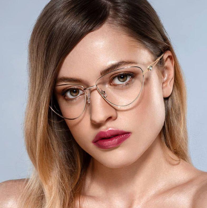 Złote okulary do komputera Damskie oprawki korekcyjne kocie oczy 2556C