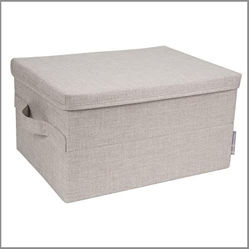 Bigso Box of Sweden Średniej wielkości pudełko do przechowywania z pokrywką i uchwytem  szafka z poliestru i kartonu o wyglądzie lnu  składane pudełko na ubrania, pościel, zabawki itd.  beżowe