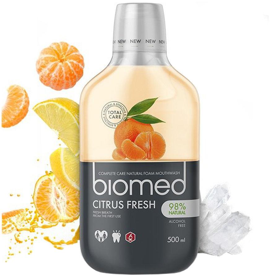 BIOMED Citrus Fresh 500ml - płyn do płukania jamy ustnej z naturalnymi ekstraktami z cytrusów