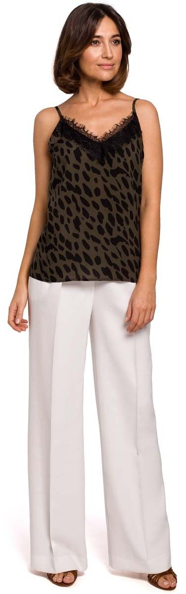 Ecru stylowe spodnie na gumie z szerokimi nogawkami.
