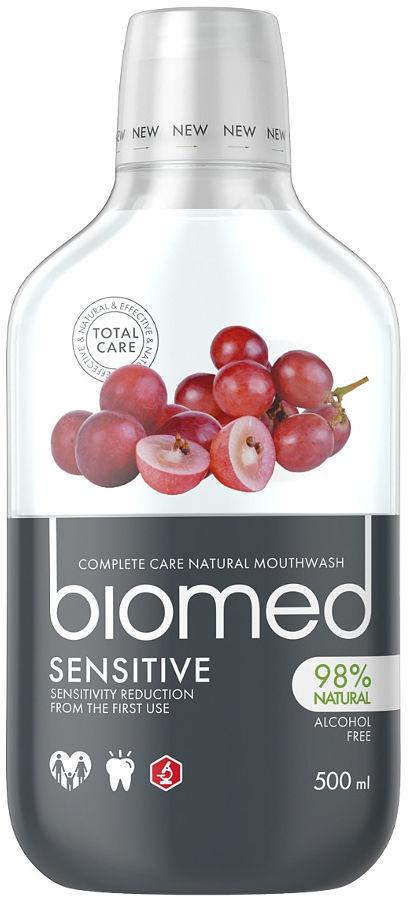 BIOMED Sensitive 500ml - płyn do płukania jamy ustnej z naturalnym wyciągiem z pestek winogron
