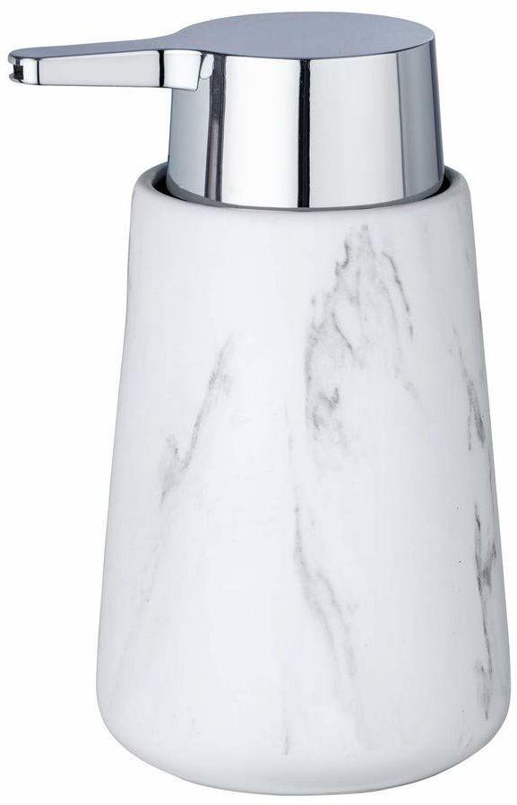 WENKO dozownik mydła Adrada  dozownik mydła w płynie, dozownik płynu do mycia naczyń, pojemność: 0,33 l, ceramika, 10,5 x 15 x 8,5 cm, biały
