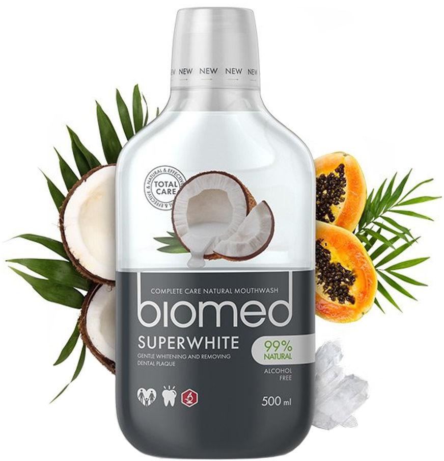 BIOMED Super White 500ml - wybielający płyn do płukania jamy ustnej