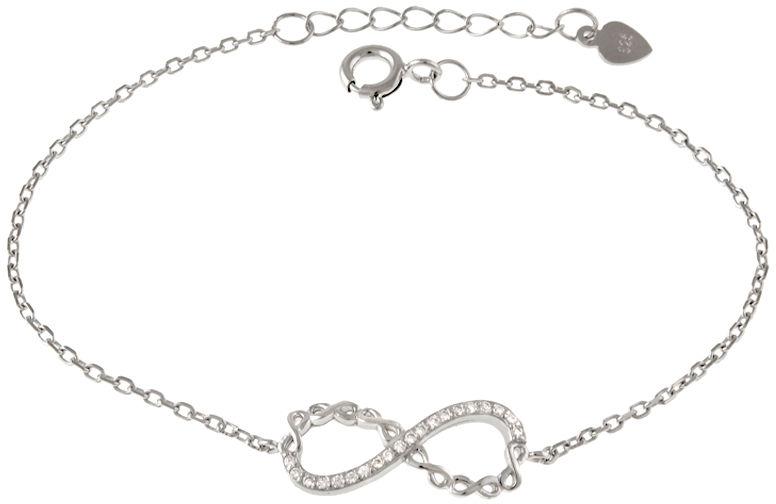 Srebrna bransoletka 925 nieskończoność cyrkonie 1,9 g