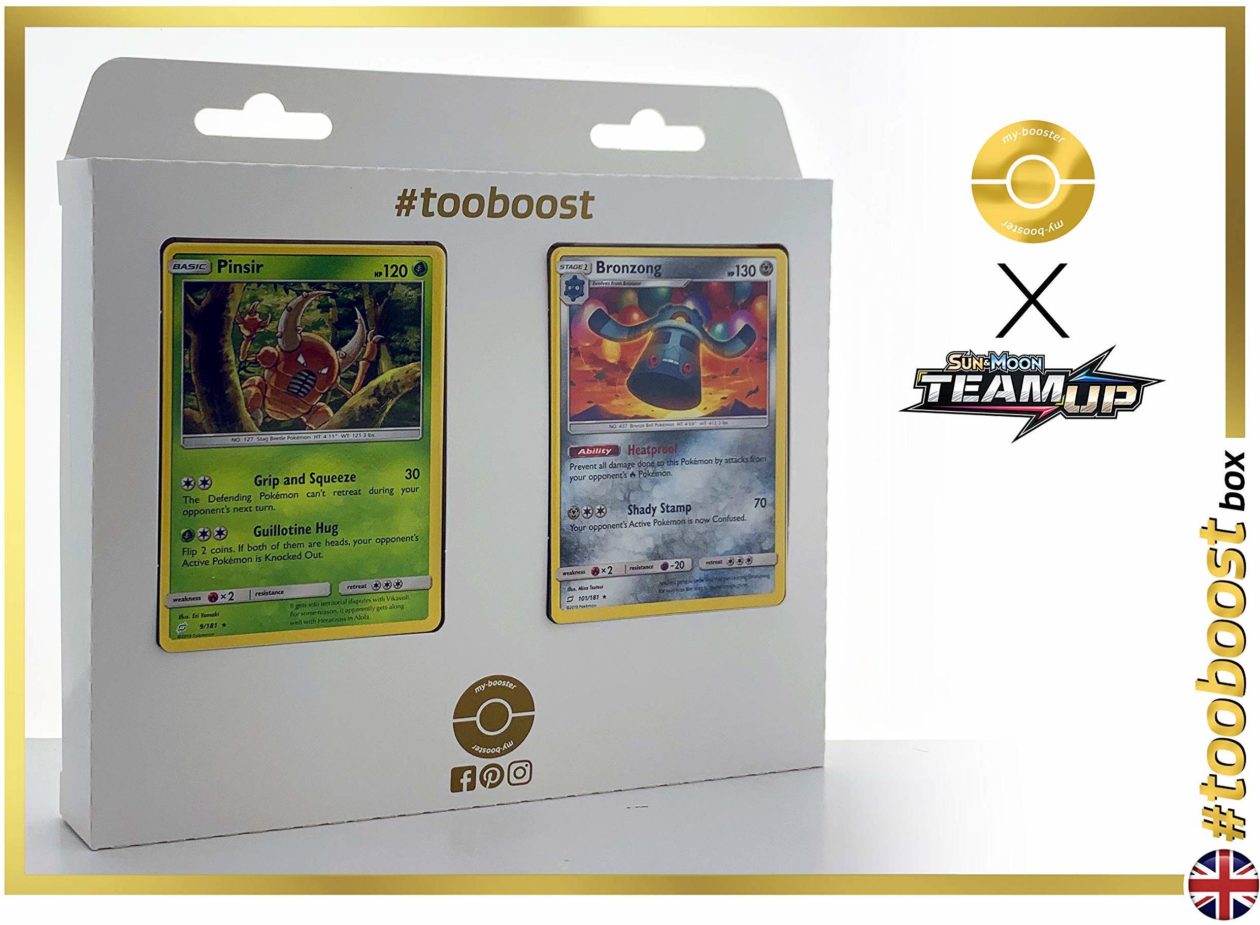 Pinsir (Pinsir) 9/181 & Bronzong 101/181  #tooboost X Sun & Moon 9 Team Up  pudełko z 10 angielskimi kartami Pokémon + 1 Goodie Pokémon