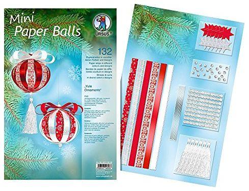 Ursus 24110099 paski Mini Paper Balls Yule Ornaments, czerwony/biały, materiały do maks. 12 mini papierowych piłek, średnica ok. 7 cm, 132 paski, 200 g/m , częściowo uszlachetnione folią