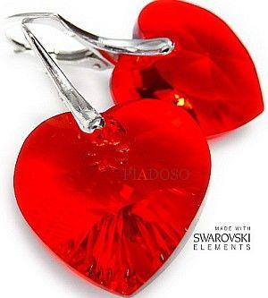 Kryształy kolczyki serce RED KOLORY PROMOCJA