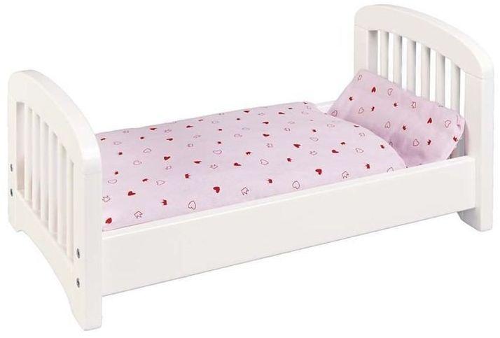 """Drewniane łóżko dla lalki """"Białe szczebelki"""", 51734-Goki, mebelki dla lalek"""