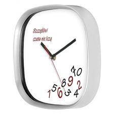Zegar srebrny kwadrat szczęśliwi