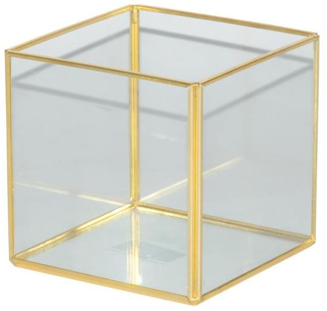 Świecznik szklany na świeczkę 10 x 10 cm złoty