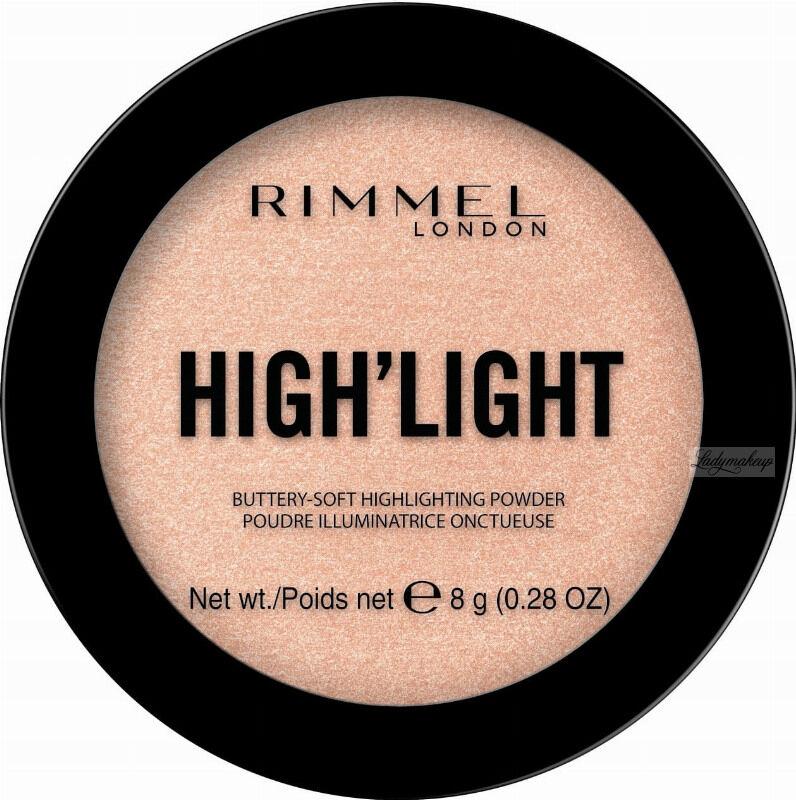 RIMMEL - HIGH''LIGHT Buttery Soft Highlighting Powder - Rozświetlacz do twarzy - 8 g - 002 CANDLELIT