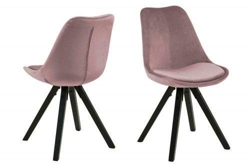 Krzesło Dima aksamitne pudrowy róż nogi czarne Actona