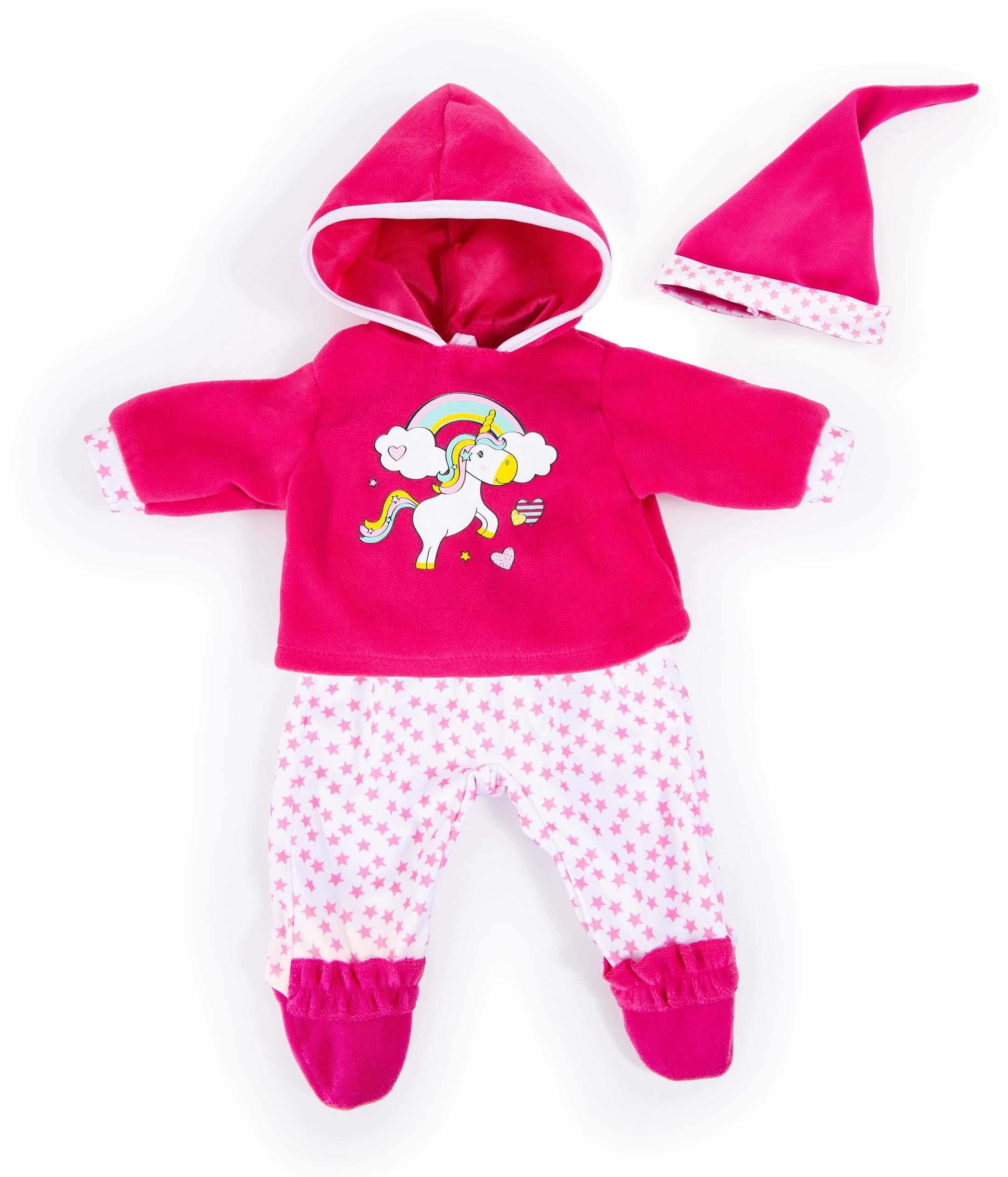 Bayer Design 84690AA odzież dla lalek 40-46 cm, spodnie, górna część i czapka, zestaw, strój z jednorożcem i tęczą, różowy