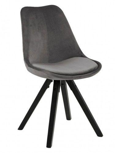 Krzesło Dima aksamitne ciemnoszary nogi czarne Actona