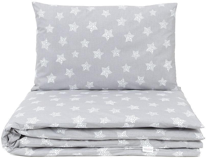 MAMO-TATO 2-el pościel dla niemowląt Gwiazdy bąbelkowe białe duże