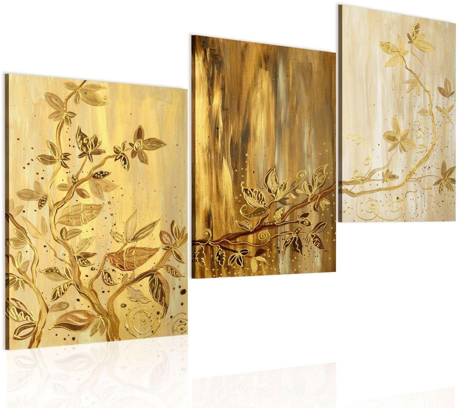 Obraz malowany - złote liście