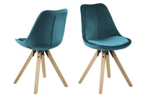 Krzesło Dima aksamitne morska zieleń nogi naturalne Actona