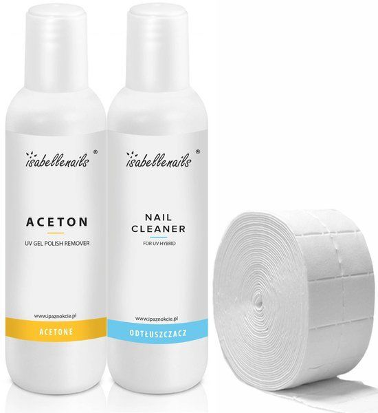Zestaw Aceton -Remover 100ml + Cleaner-Odtłuszczacz 100ml + waciki 20szt.