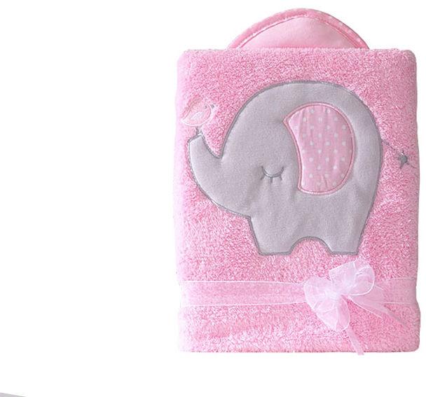 MAMO-TATO Kocyk dla dzieci długowłosy dwustronny z haftem Słonik różowy
