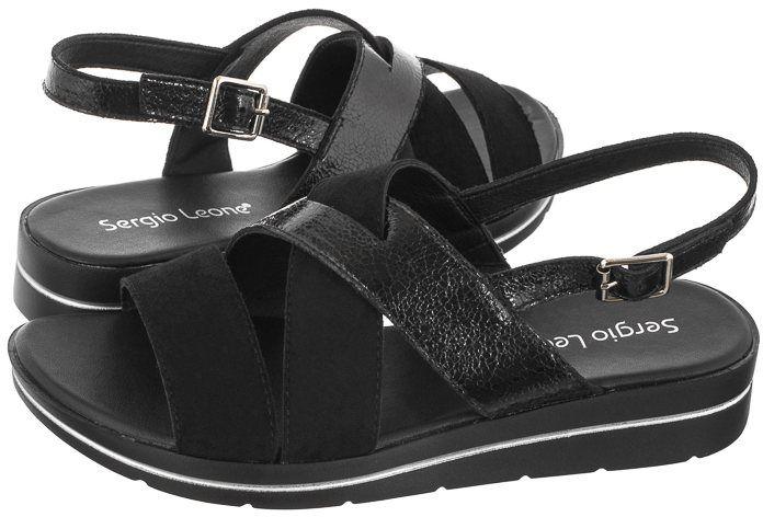 Sandały Sergio Leone Czarne SK 039 (SL389-a)