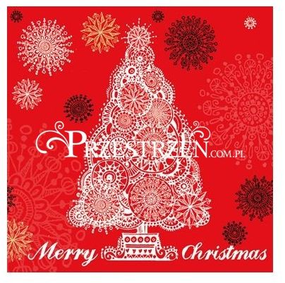 SERWETKI PAPIEROWE - Choinka - Merry Christmas - czerwone