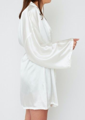 KLARA Szlafrok Jedwabny Biały Uniwersalny