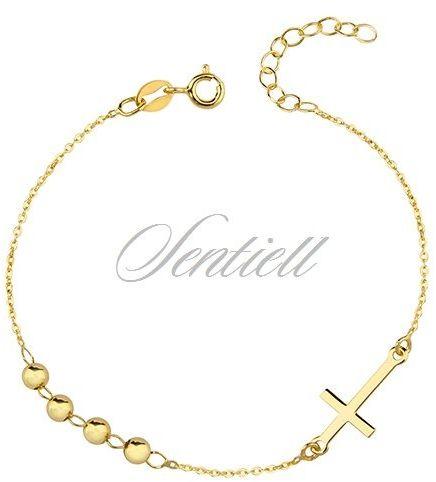 Srebrna bransoletka pr.925 z krzyżykiem, pozłacana - żółte złoto