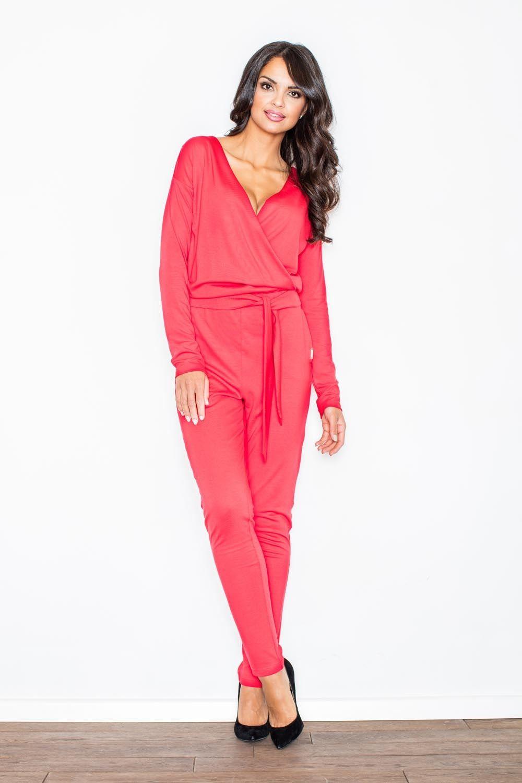 Czerwony modny kombinezon z kopertowym dekoltem