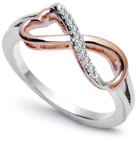 Złoty pierścionek nieskończoność - Diament
