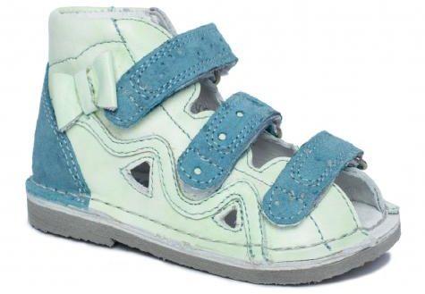 BARTEK 11638/5-V069 kapcie / sandały, sandałki profilaktyczne dziecięce - niebieski zielony