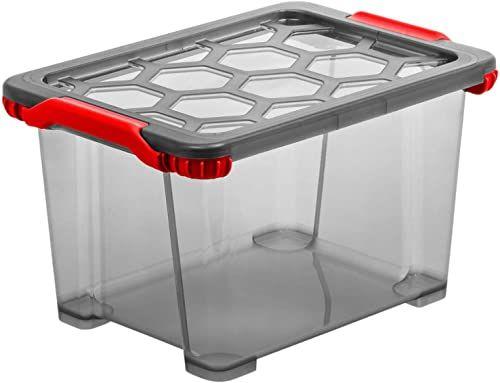 Rotho Evo Total Protection pudełko do przechowywania 15 l z pokrywką, tworzywo sztuczne (PP), nie zawiera BPA, antracyt/czerwony, 15 l (39,3 x 28,3 x 23,0 cm)
