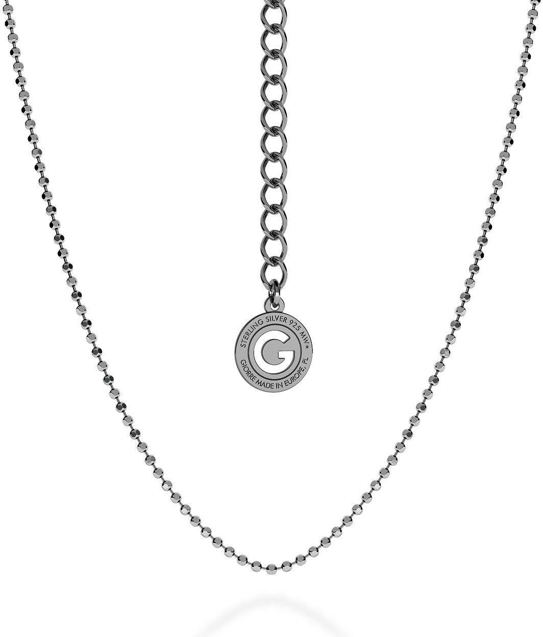 Srebrny łańcuszek z kulek, srebro 925 : Długość (cm) - 55 + 5, Srebro - kolor pokrycia - Pokrycie platyną