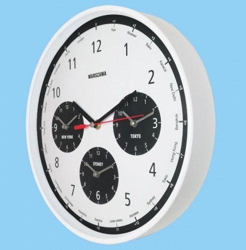Zegar strefy czasowe biały z połyskiem