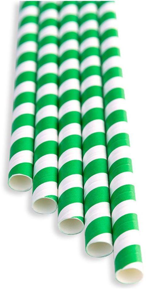 Słomki papierowe zielono - białe