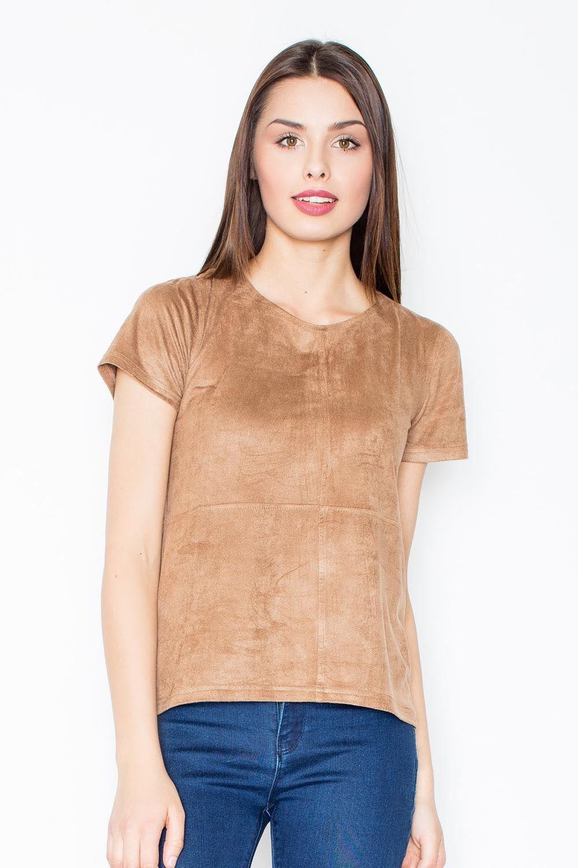 Brązowa prosta zamszowa bluzka z przeszyciami
