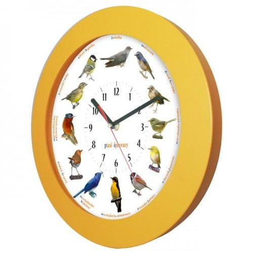 Zegar z głosami ptaków drewniany orange #1