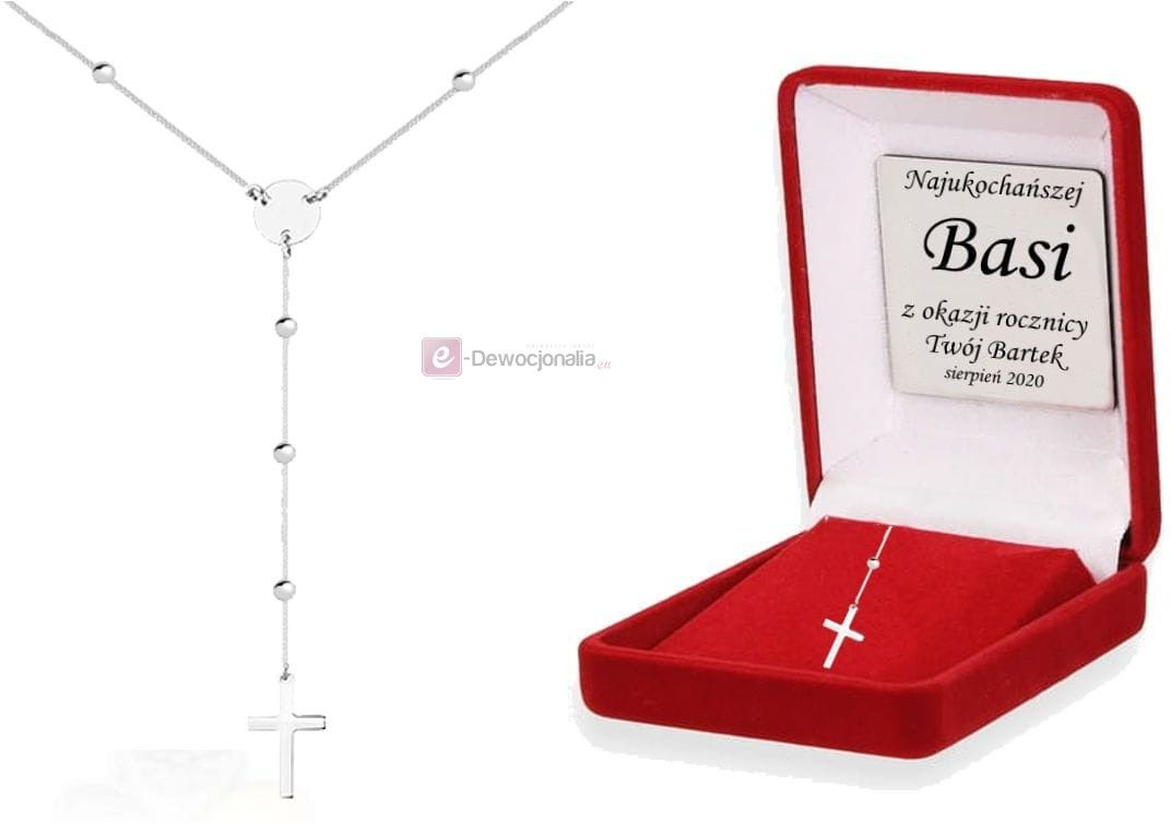 Naszyjnik z krzyżykiem pr. 925 DEDYKACJA - Pamiątka prezent GRAWER