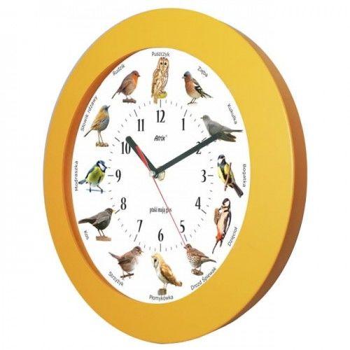 Zegar z głosami ptaków drewniany orange #2