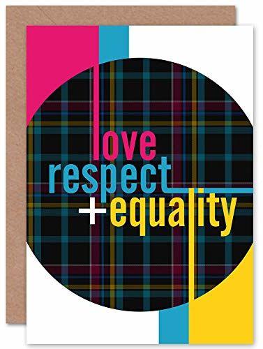 """Wee Blue Coo Kartka z życzeniami z napisem """"Who Cares Scotland Love Respect"""", szkocka karo, z kopertą wewnątrz, jakość premium"""