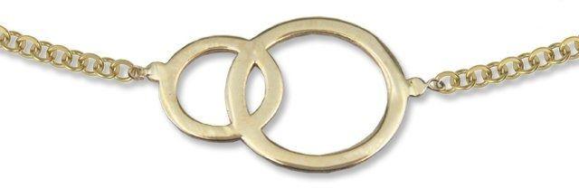Naszyjnik ze złota - celebrytka z motywem obrączek- model 24