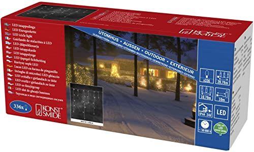 Konstsmide 2773  102 LED lodowy deszcz kurtyna świetlna / do użytku na zewnątrz (IP44) / certyfikat VDE / transformator zewnętrzny 24 V / 336 diod w kolorze ciepłej bieli / biały kabel