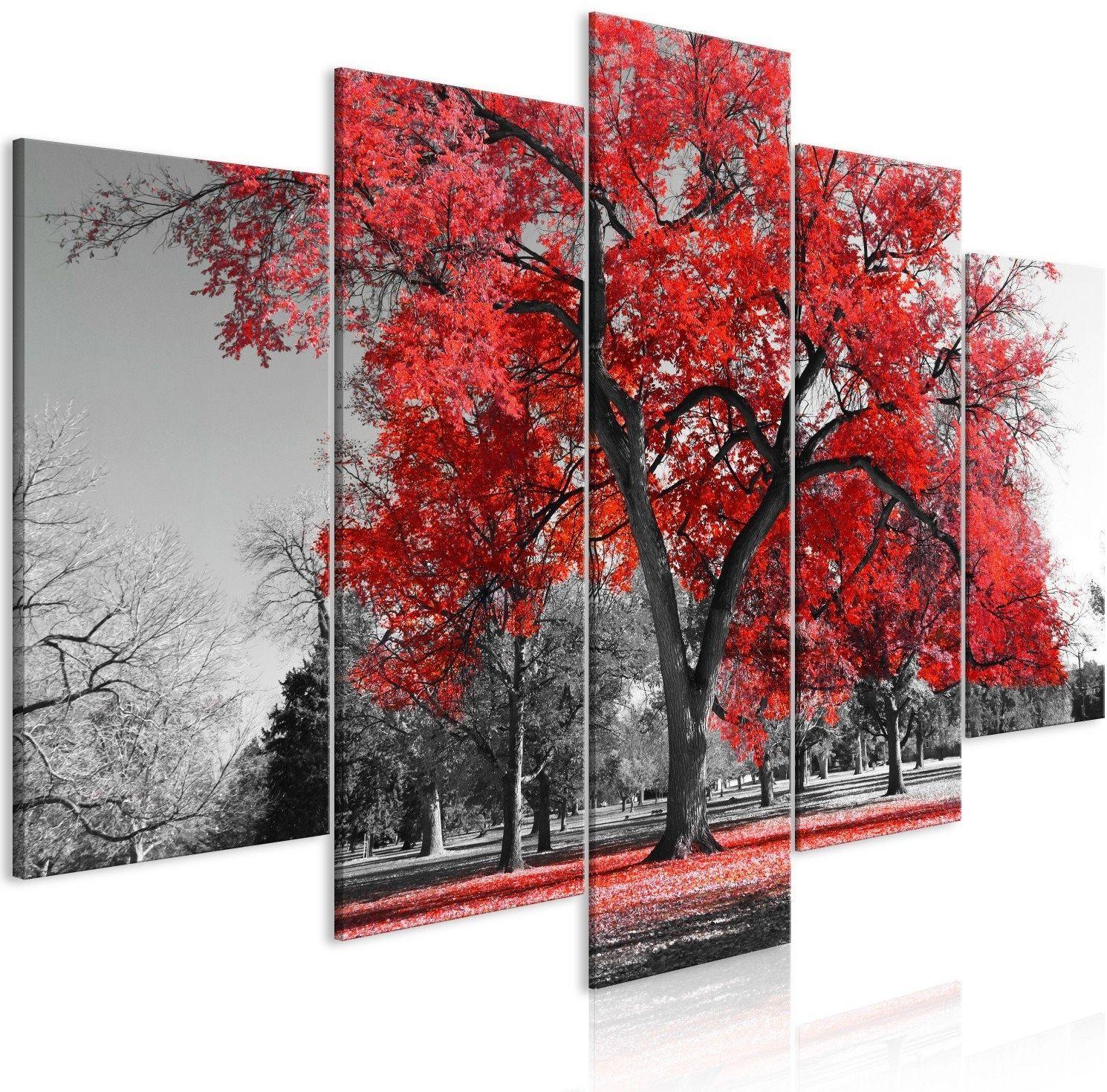 Obraz - jesień w parku (5-częściowy) szeroki czerwony