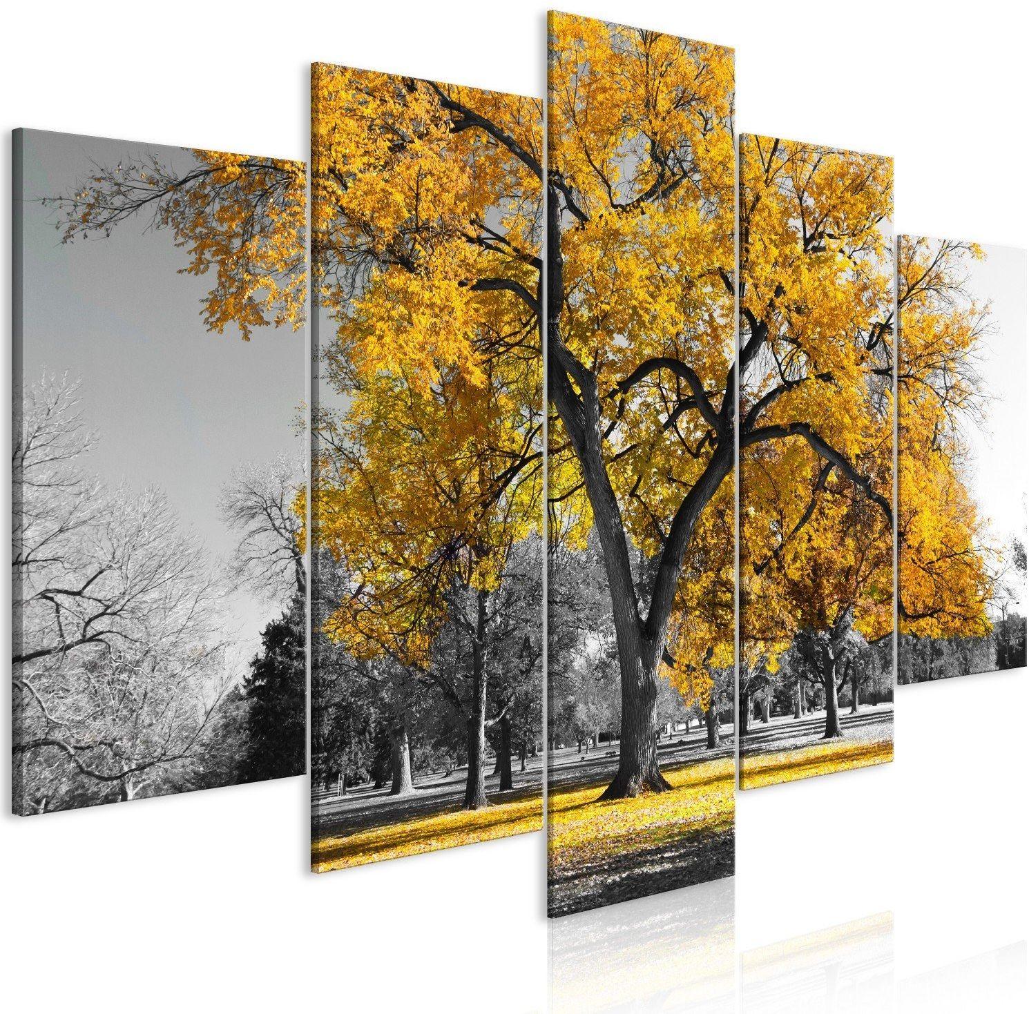 Obraz - jesień w parku (5-częściowy) szeroki złoty