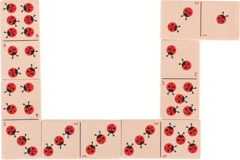 Domino dla dzieci w skrzyneczce z motywem biedronek, 56716-goki, gry drewniane