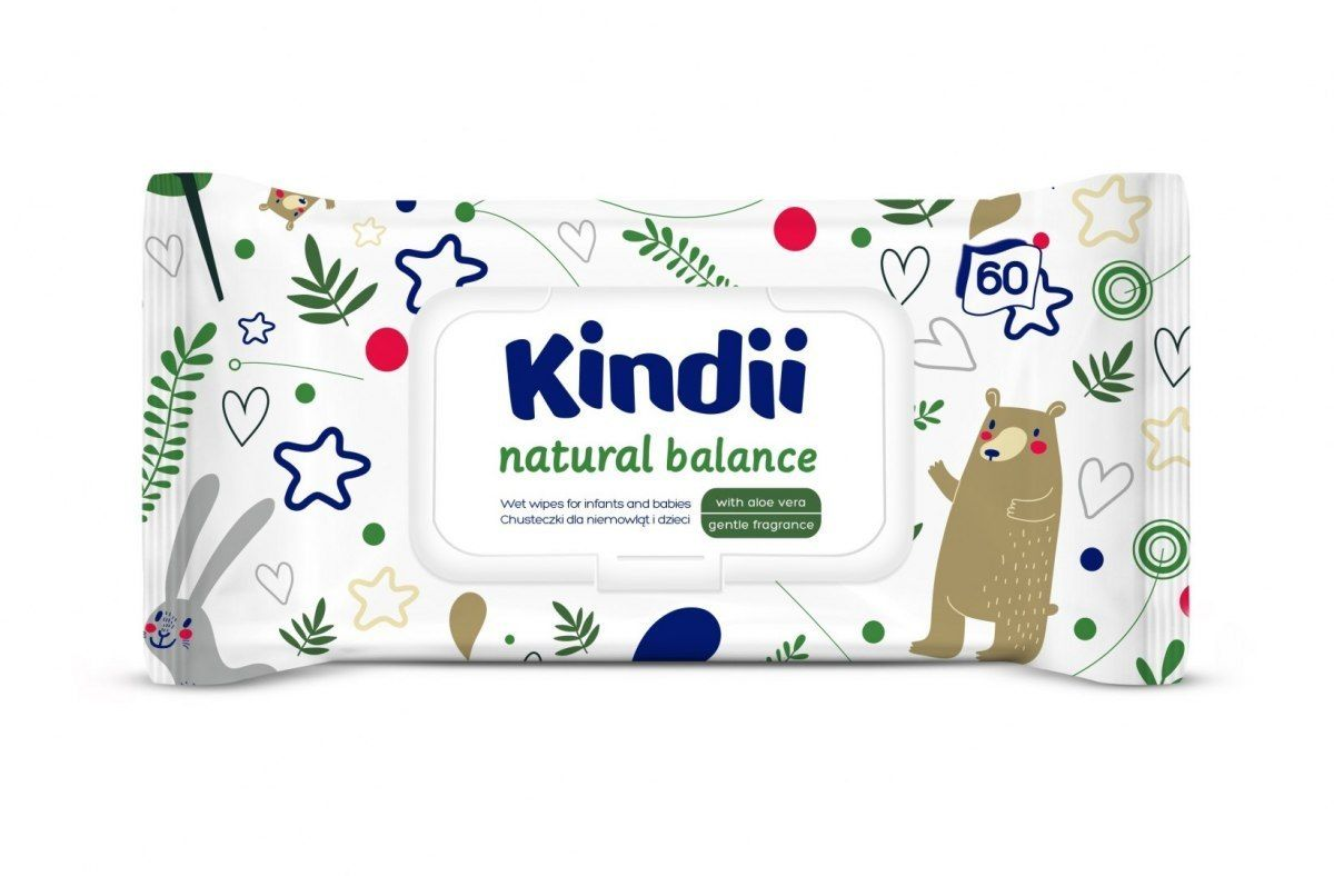 HARPER Kindii Natural Balance Chusteczki oczyszczające dla dzieci i niemowląt 1op.-60szt