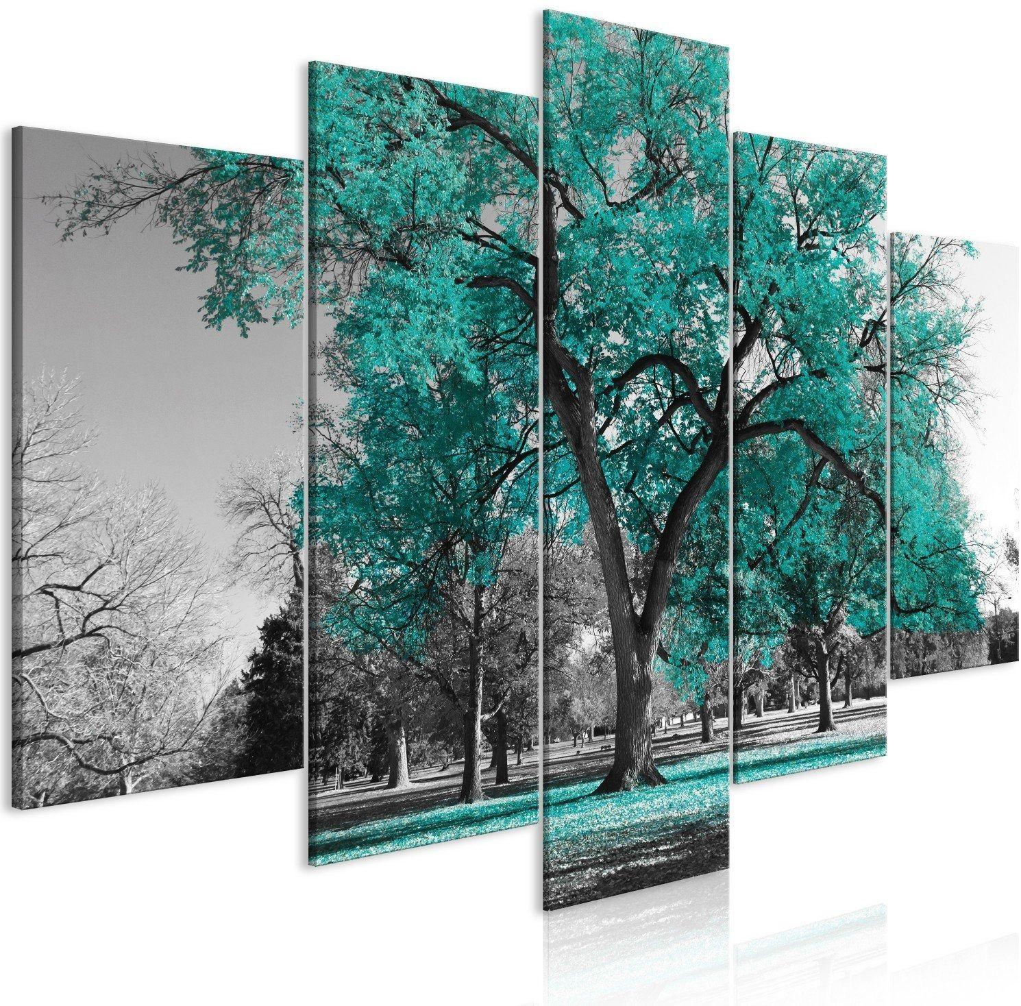Obraz - jesień w parku (5-częściowy) szeroki turkusowy