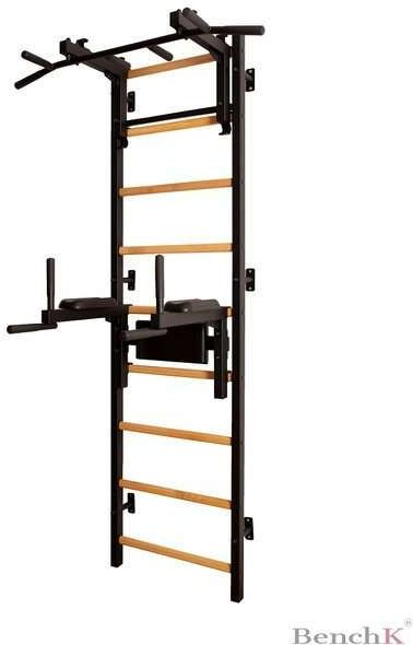 Drabinka gimnastyczna z drewnianymi szczebelkami, drążkiem i poręczami 712B BenchK 240 x 67 cm - 712B